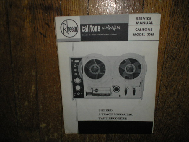 3085 Mono Tape Deck Service Manual  Rheem Califone