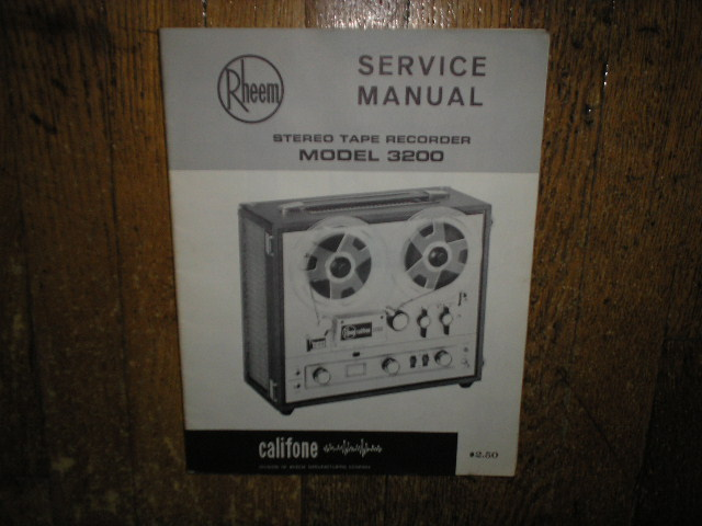 3200 Stereo Tape Deck Service Manual  Rheem Califone