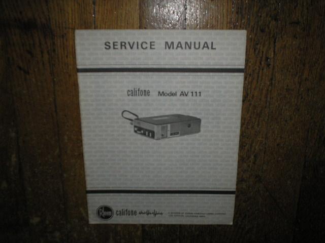 AV-111 Stereo Cassette Tape Deck Service Manual