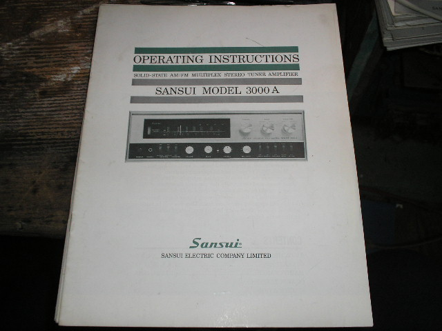 3000A AM FM Tuner Amplifier Operating Instruction Manual