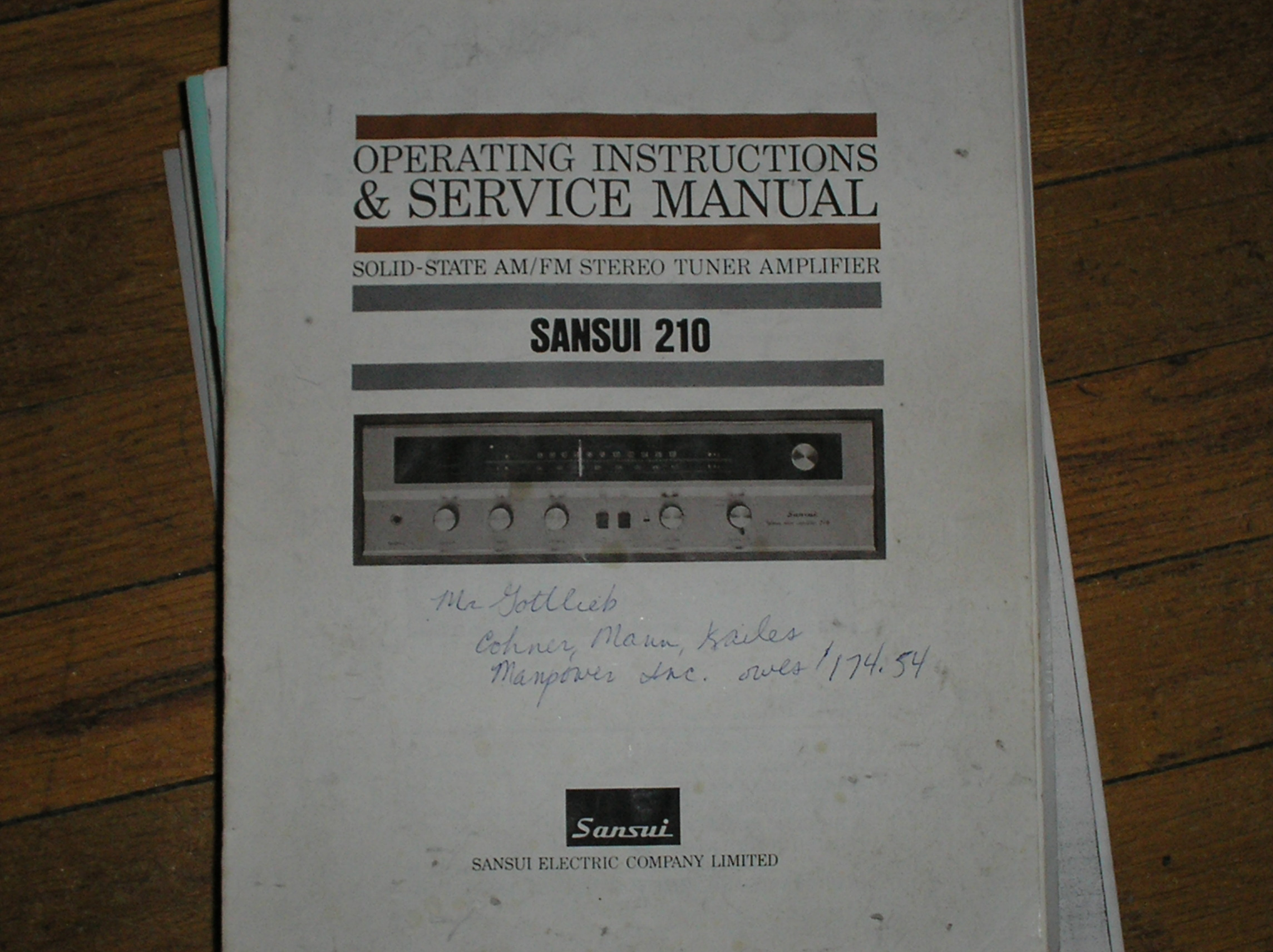 210 Tuner Amplifier Operating Service Instruction Manual