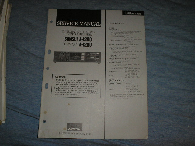 A-1200 A-1230 Classique Amplifier Service Manual