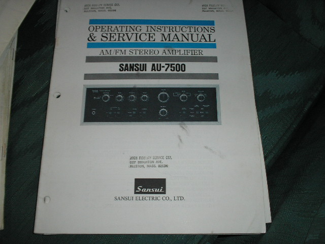 AU-7500 Amplifier Operating Instruction Service Manual