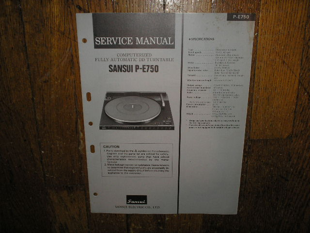 P-E750 Turntable Service Manual