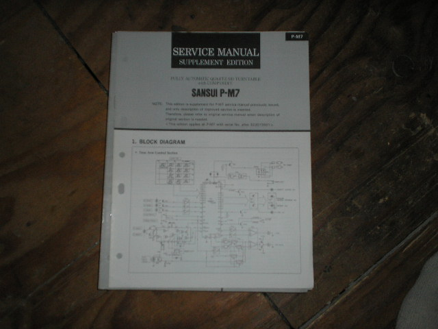 P-M7 Turntable Service Manual 2nd Manual for Serial # 322073501 and up