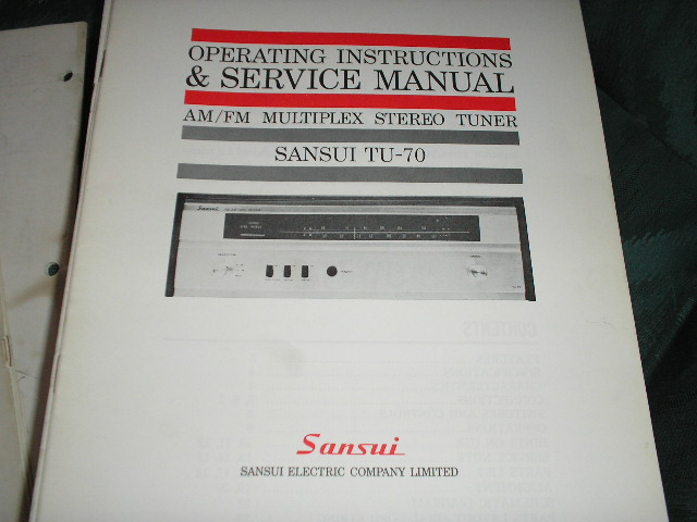 TU-70 Tuner Operating Instruction Service Manual