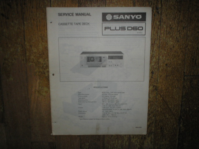 Plus D60 Cassette Deck Service Manual