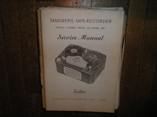 Model 3 3B 3BF Tape Recorder Service Manual  TANDBERG