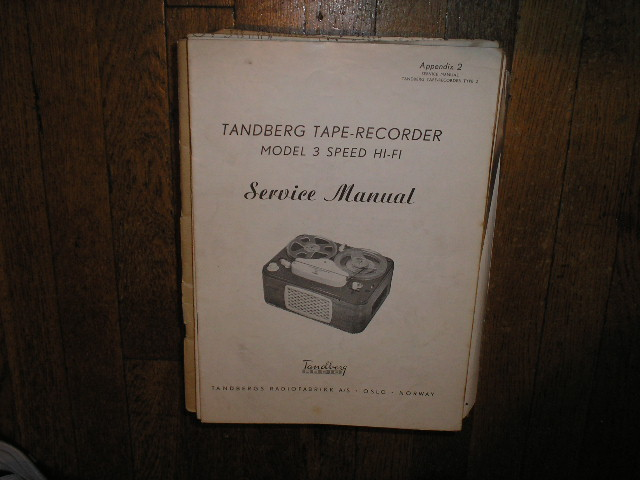 Model 3 Hi-Fi Tape Recorder Service Manual  TANDBERG