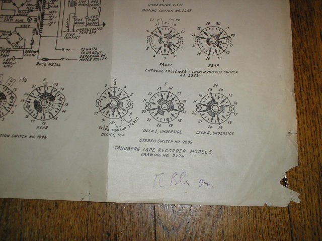 Model 5 Tape Recorder Large Foldout Schematic