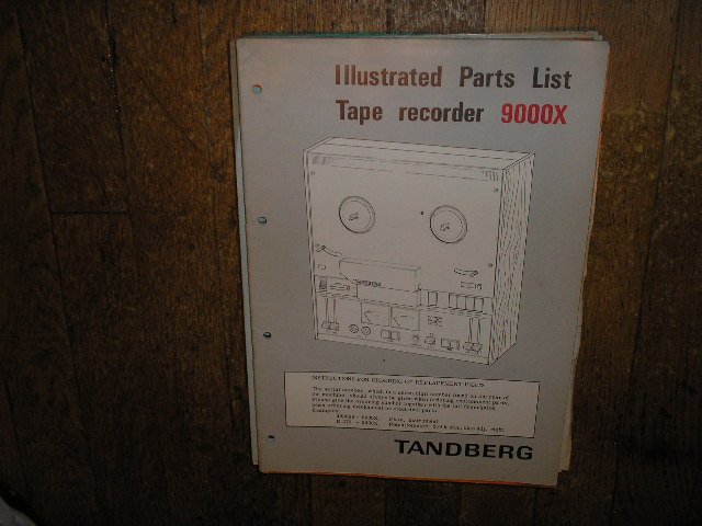 9000X Series Tape Recorder Parts Manual 2  TANDBERG