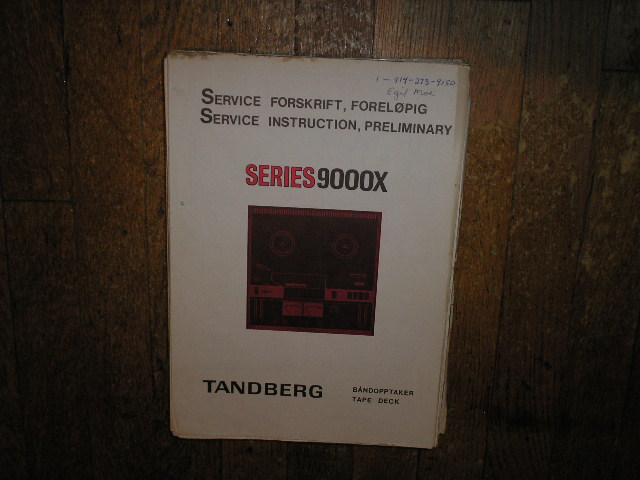 9000X Series Tape Recorder Service Manual 3  TANDBERG