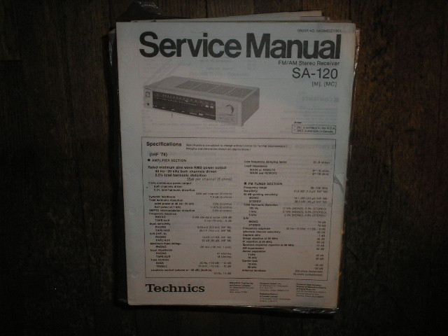 SA-120 Receiver Service Manual