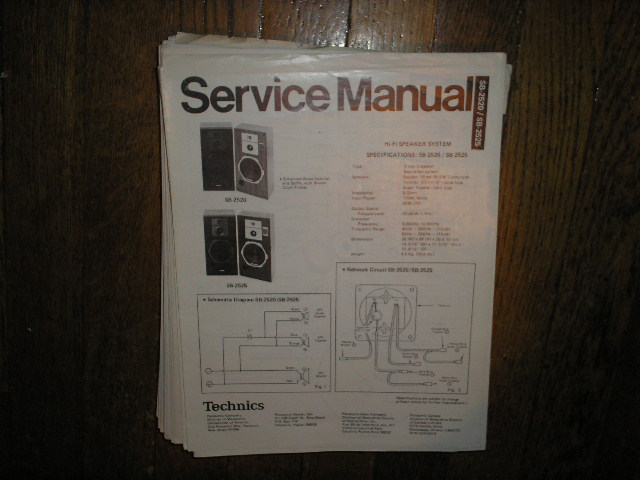 SB-2520 SB-2525 Speaker System Service Manual