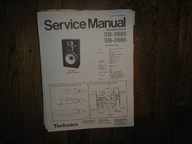 SB-2680 2SB-2685 Speaker System Service Manual