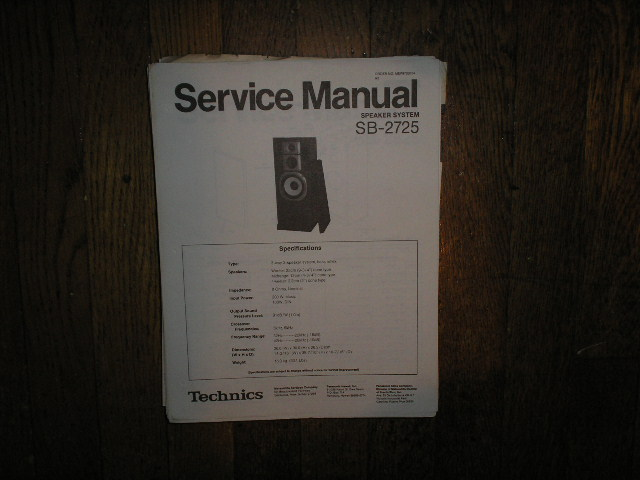 SB-2725 Speaker System Service Manual