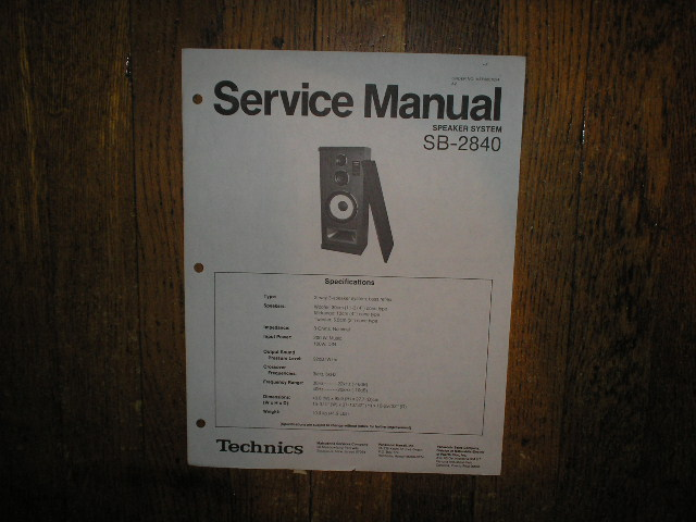 SB-2840 Speaker System Service Manual