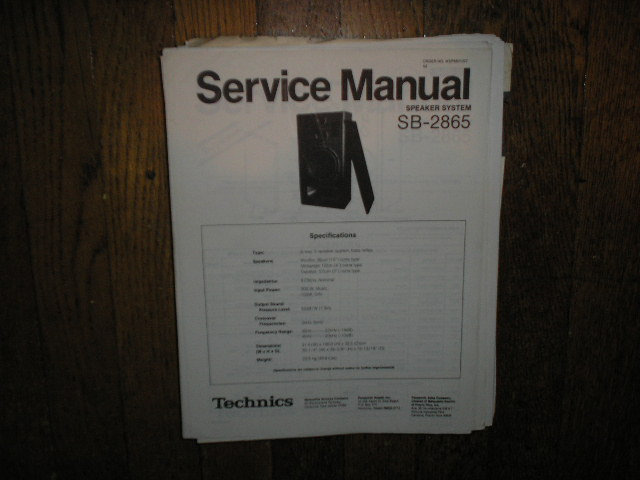 SB-2865 Speaker System Service Manual