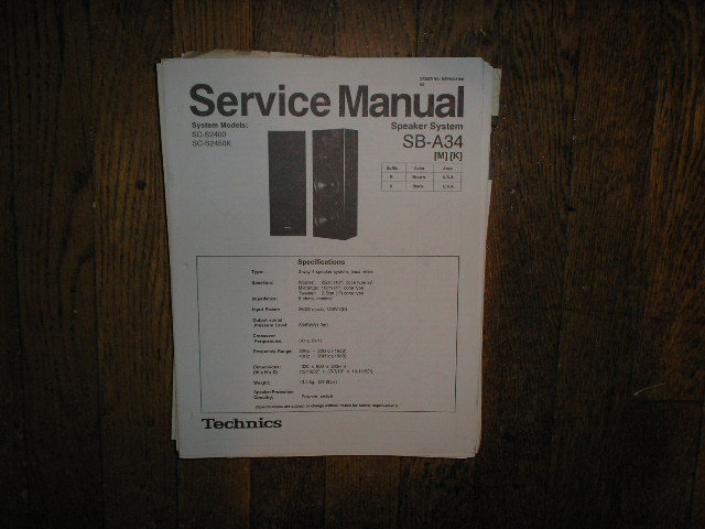 SB-A34 Speaker System Service Manual