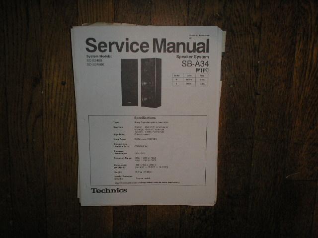 SB-A34 Speaker System Service Manual