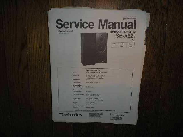 SB-A521 Speaker System Service Manual
