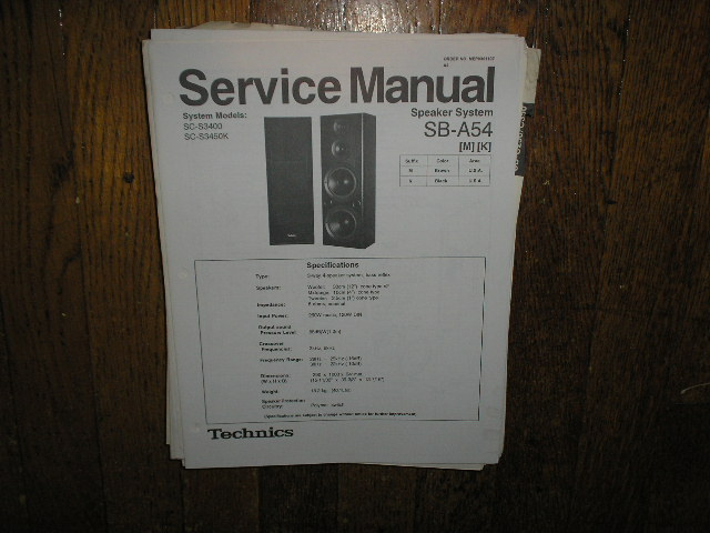 SB-A54 Speaker System Service Manual