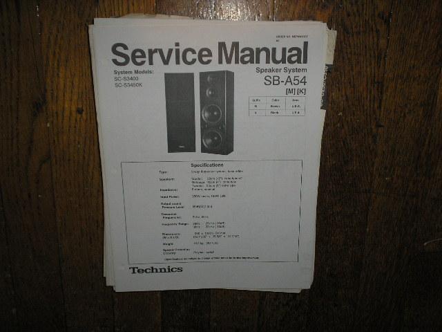 SB-A54 Speaker System Service Manual