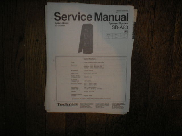 SB-A63 Speaker System Service Manual