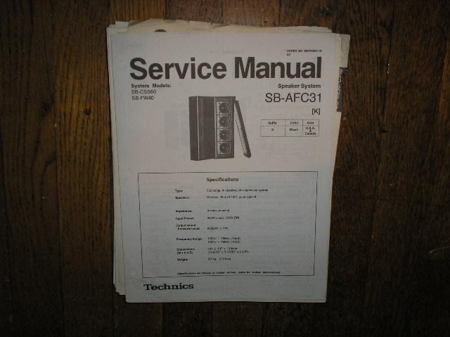 SB-AFC31 Speaker System Service Manual