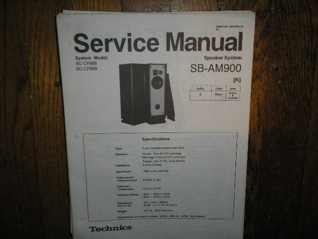 SB-AM900 Speaker System Service Manual