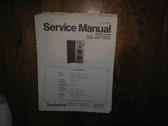 SB-AV1000 Speaker System Service Manual