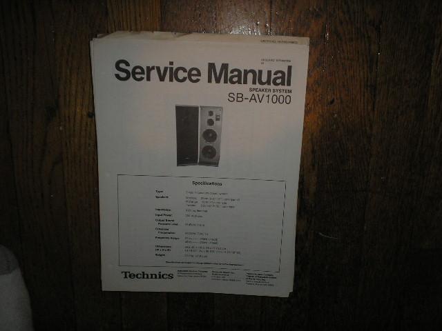 SB-AV1000 Speaker System Service Manual
