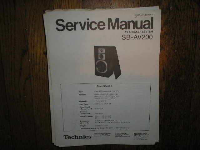 SB-AV200 Speaker System Service Manual
