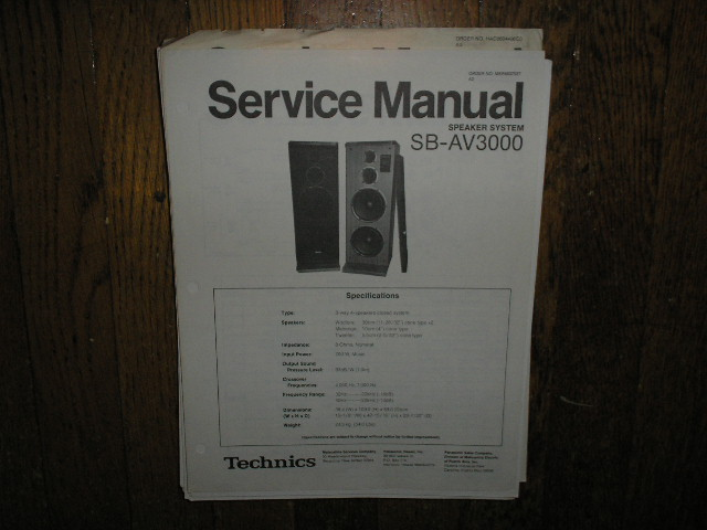 SB-AV3000 Speaker System Service Manual
