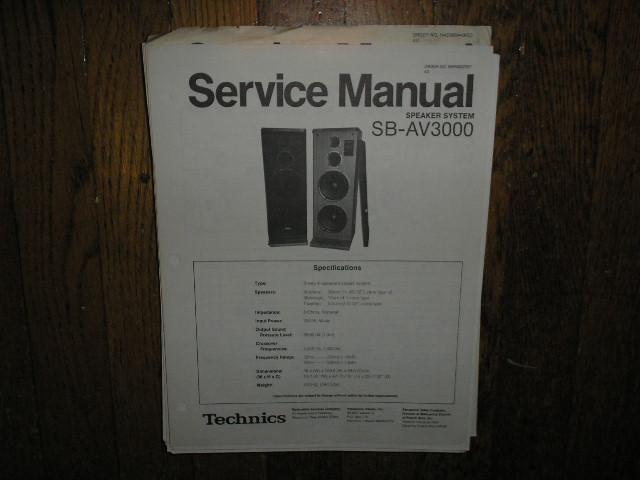 SB-AV3000 Speaker System Service Manual