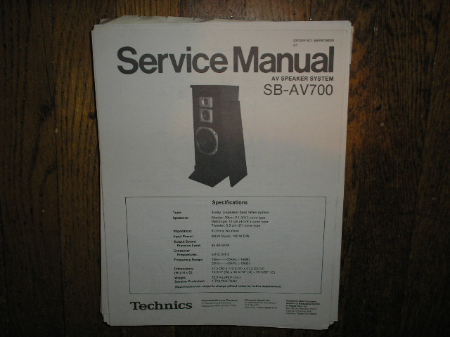 SB-AV700 Speaker System Service Manual