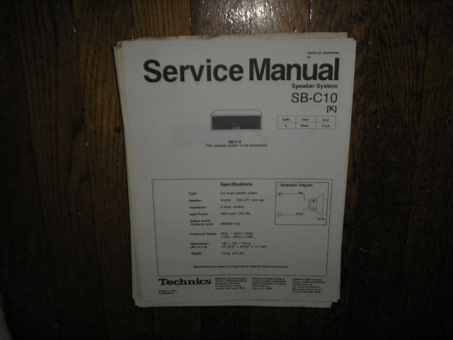 SB-C10 Speaker System Service Manual