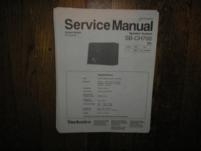 SB-CH700 Speaker System Service Manual