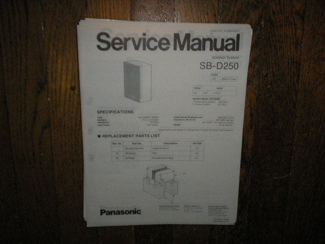 SB-D250 Speaker System Service Manual