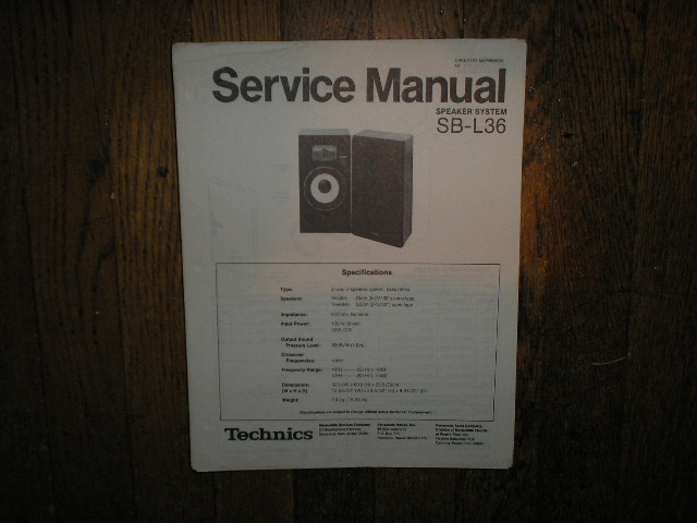 SB-L36 Speaker System Service Manual