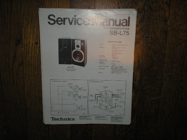 SB-L75 Speaker System Service Manual