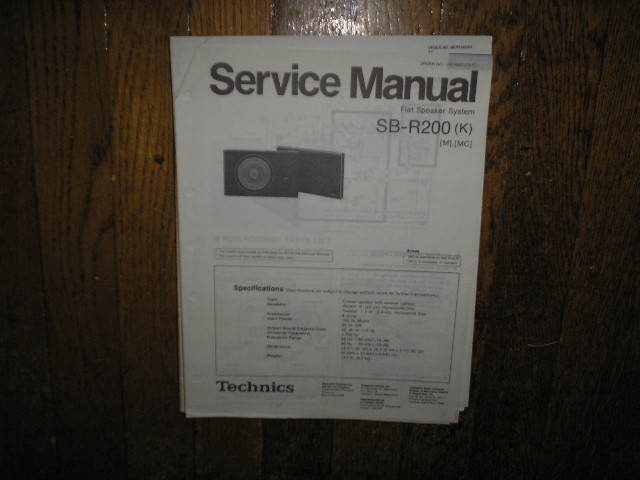 SB-R200 Speaker System Service Manual