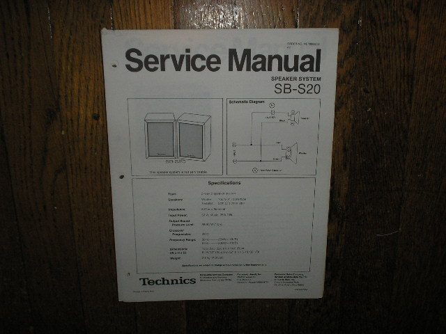 SB-S20 Speaker System Service Manual