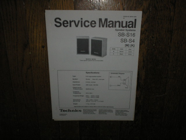 SB-S4 SB-S16 Speaker System Service Manual