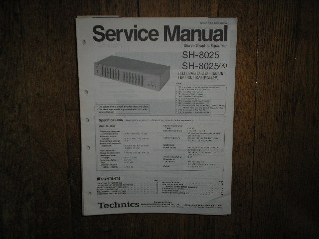 SH-8025 SH-8025K Equalizer Service Manual