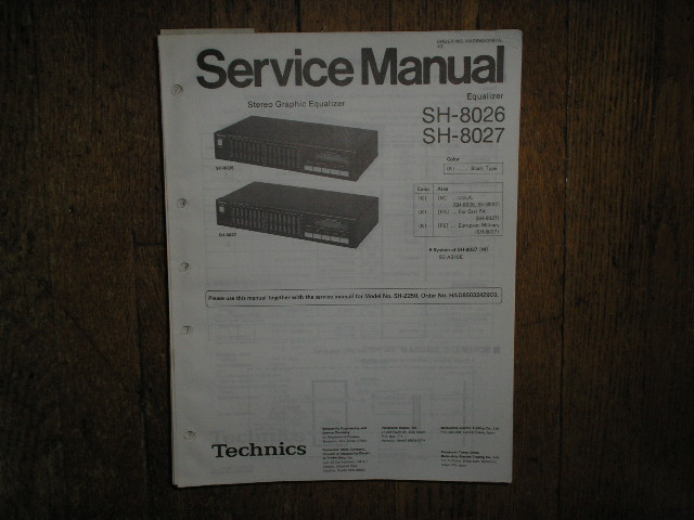 SH-8026 SH-8027 SH-Z250 Equalizer Service Manual