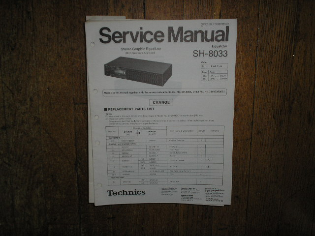 SH-8033 SH-8044 Equalizer Service Manual