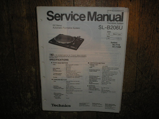 SL-B206U Turntable Service Manual covers K M versions