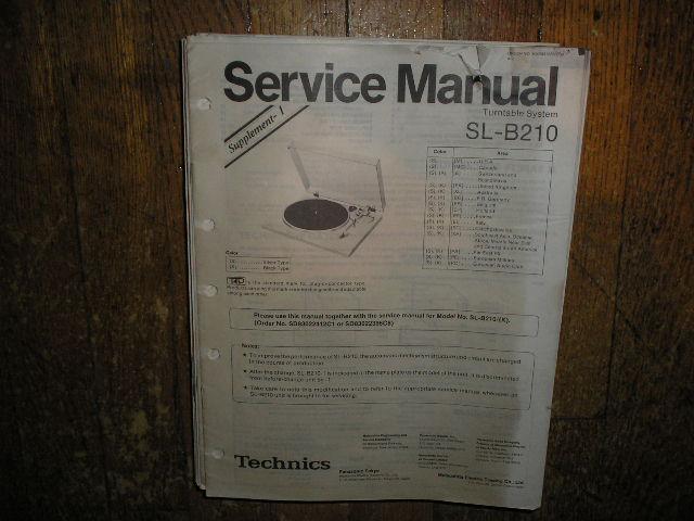 SL-B210 Turntable Service Manual