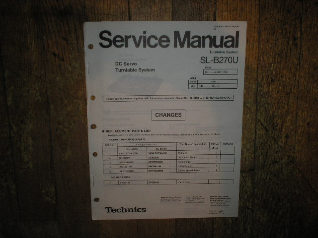 SL-B270U Turntable Service Manual.  Comes with SL-BD26U also..